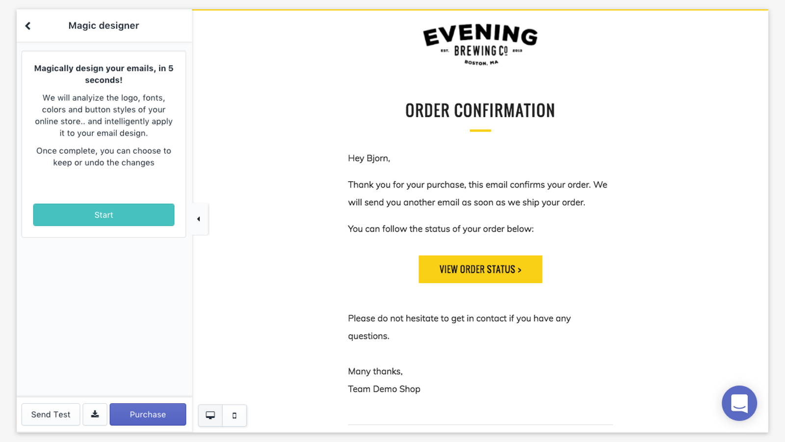 Email templates for Shopify, order confirmation