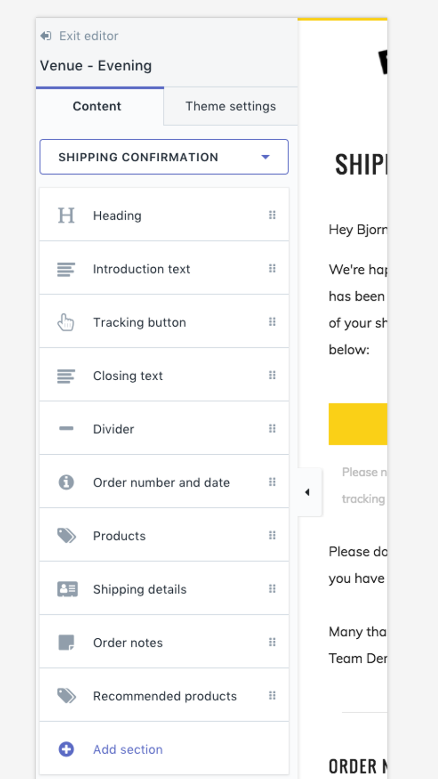Email templates for Shopify notifications, mobile add sections