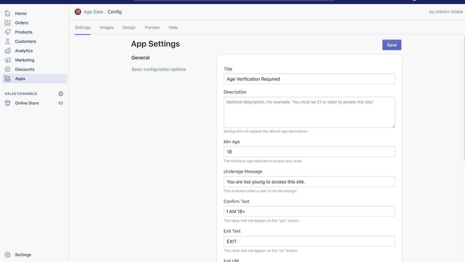 Admin panel matches the Shopify backend look and feel