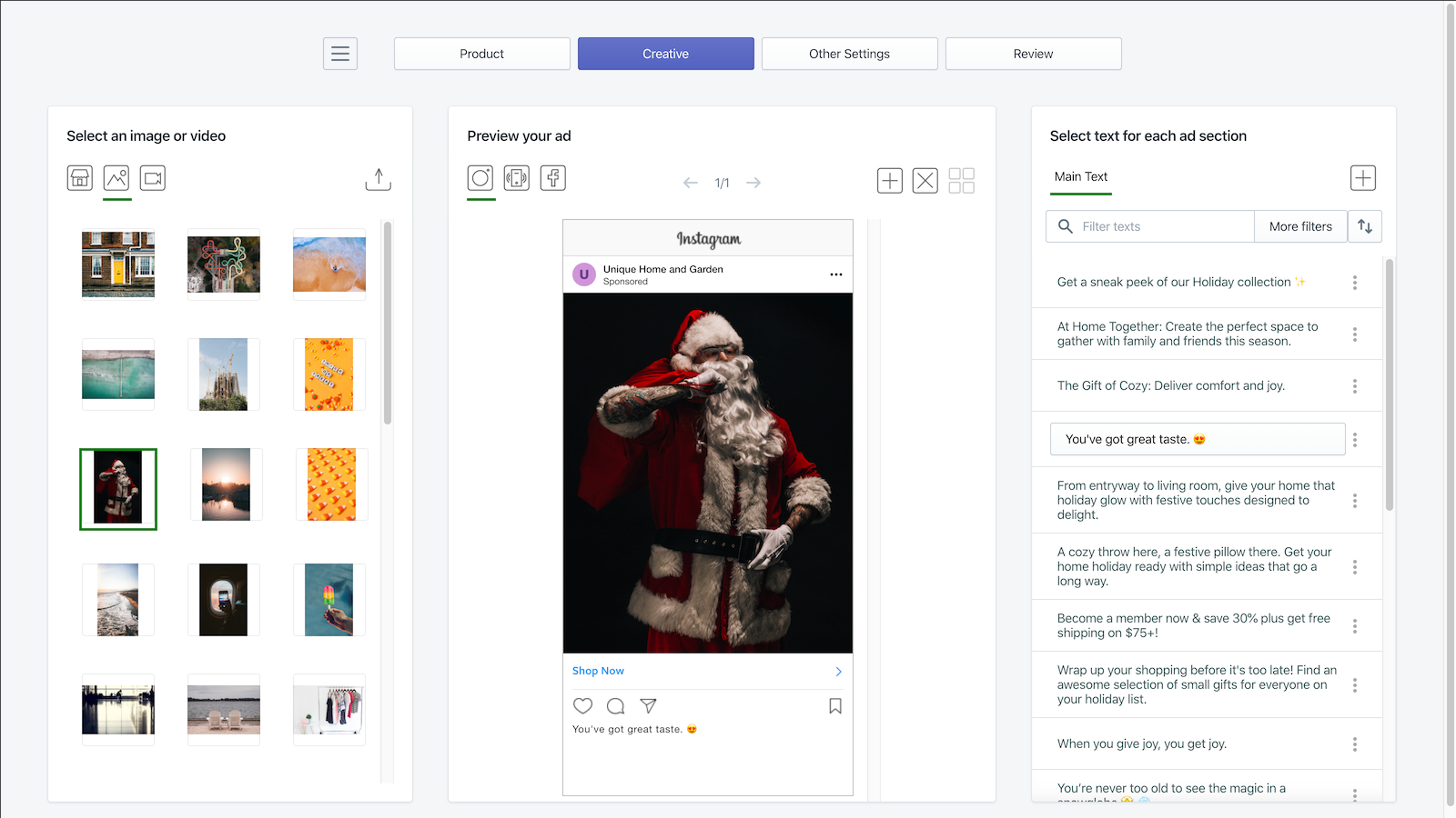 Preview your ad by combining image, video, and text
