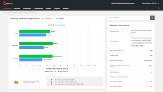 Account dashboard - an overview of your account on Awin.