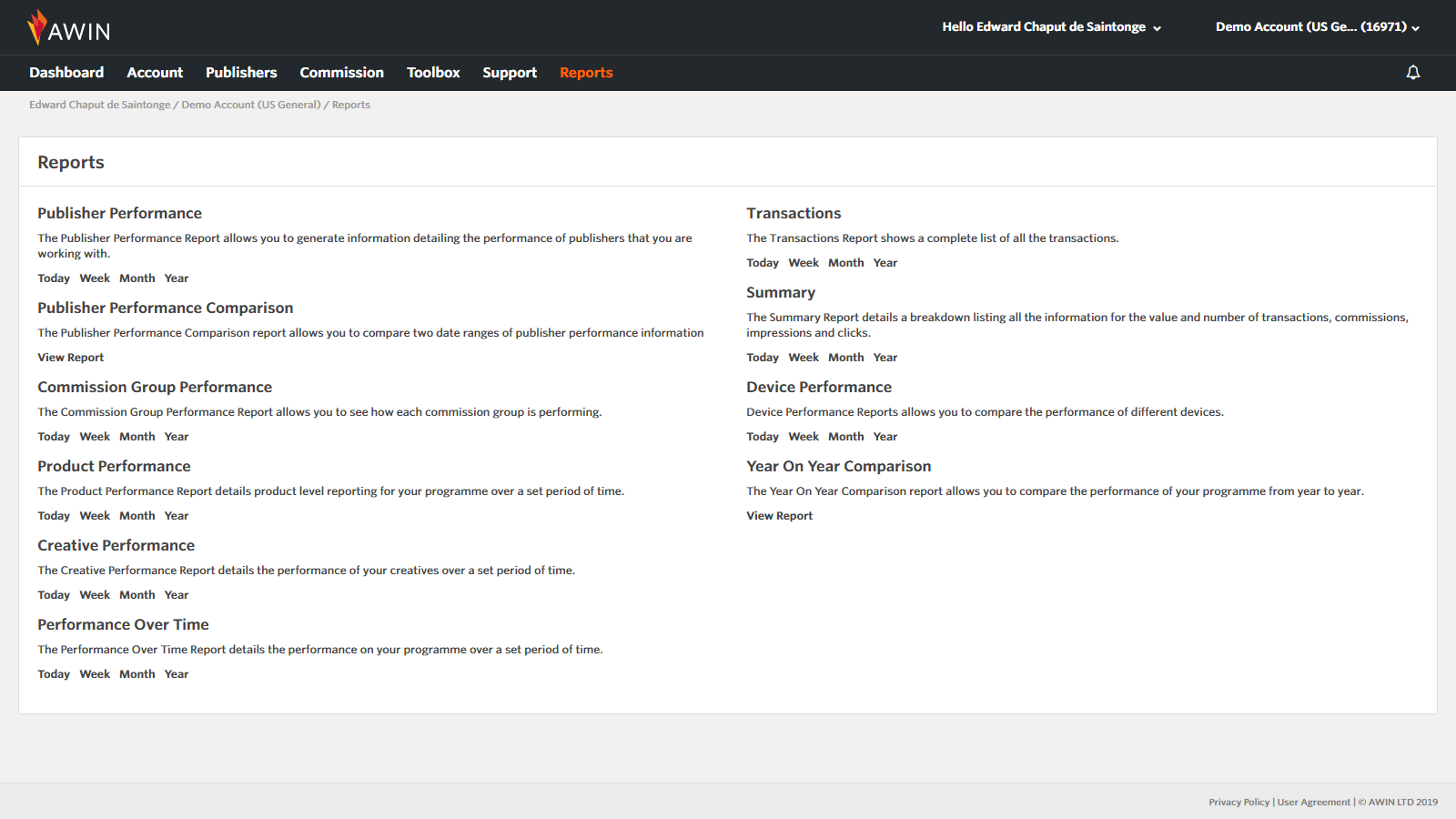The full reporting suite on the Awin platform.