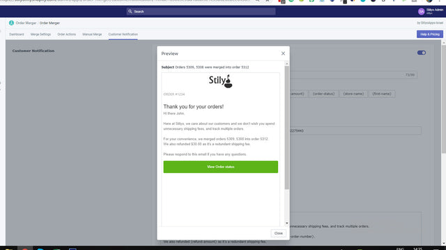 Notify customers when orders are merged via email