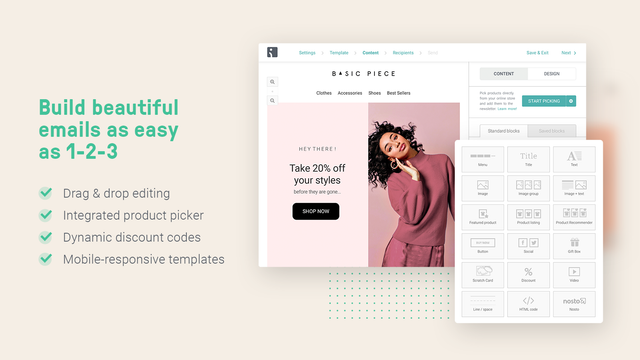 Omnisend drag and drop email templates & dynamic discount codes