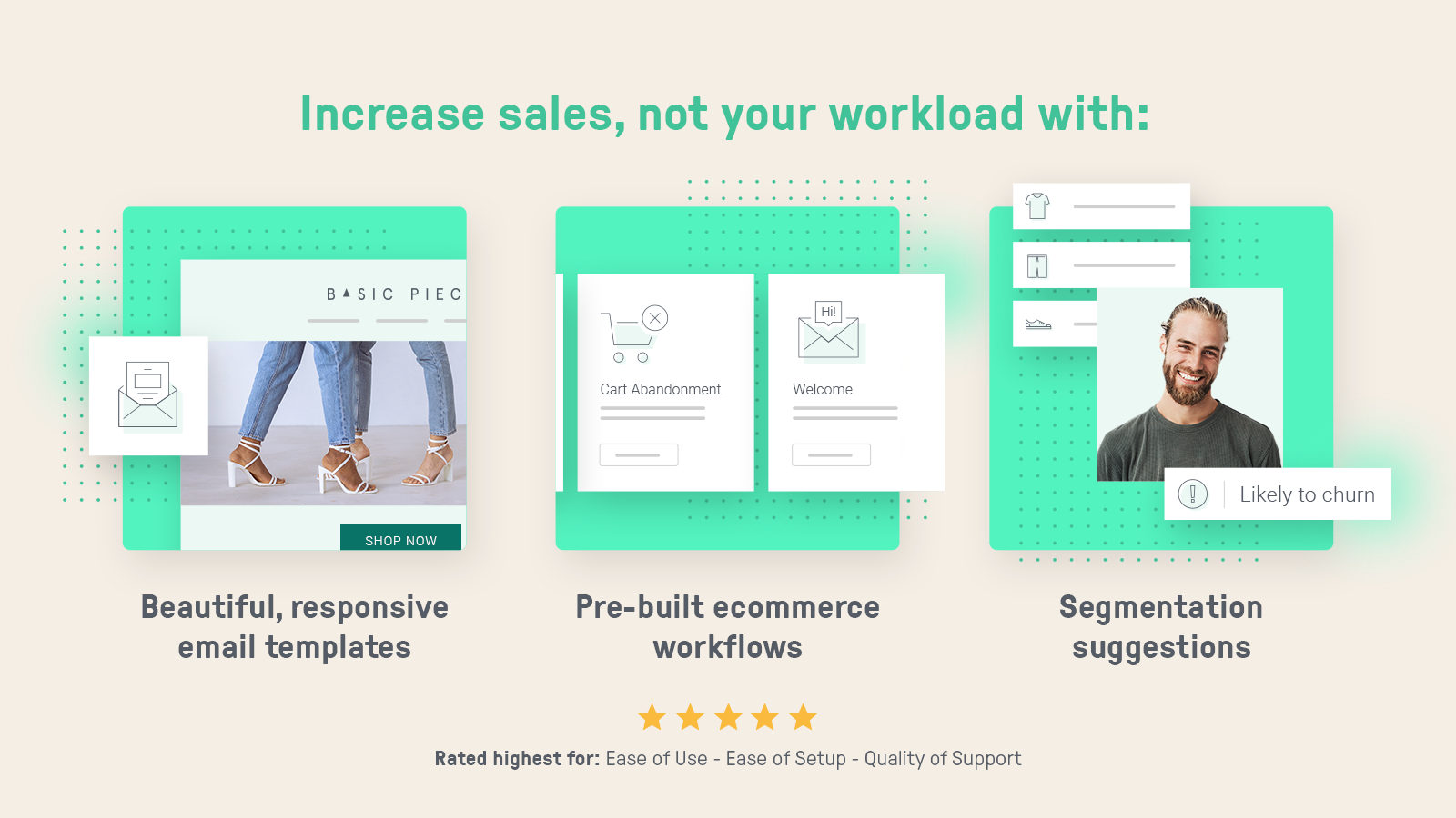 Omnisend email templates, pre-built workflows,segmentation tools