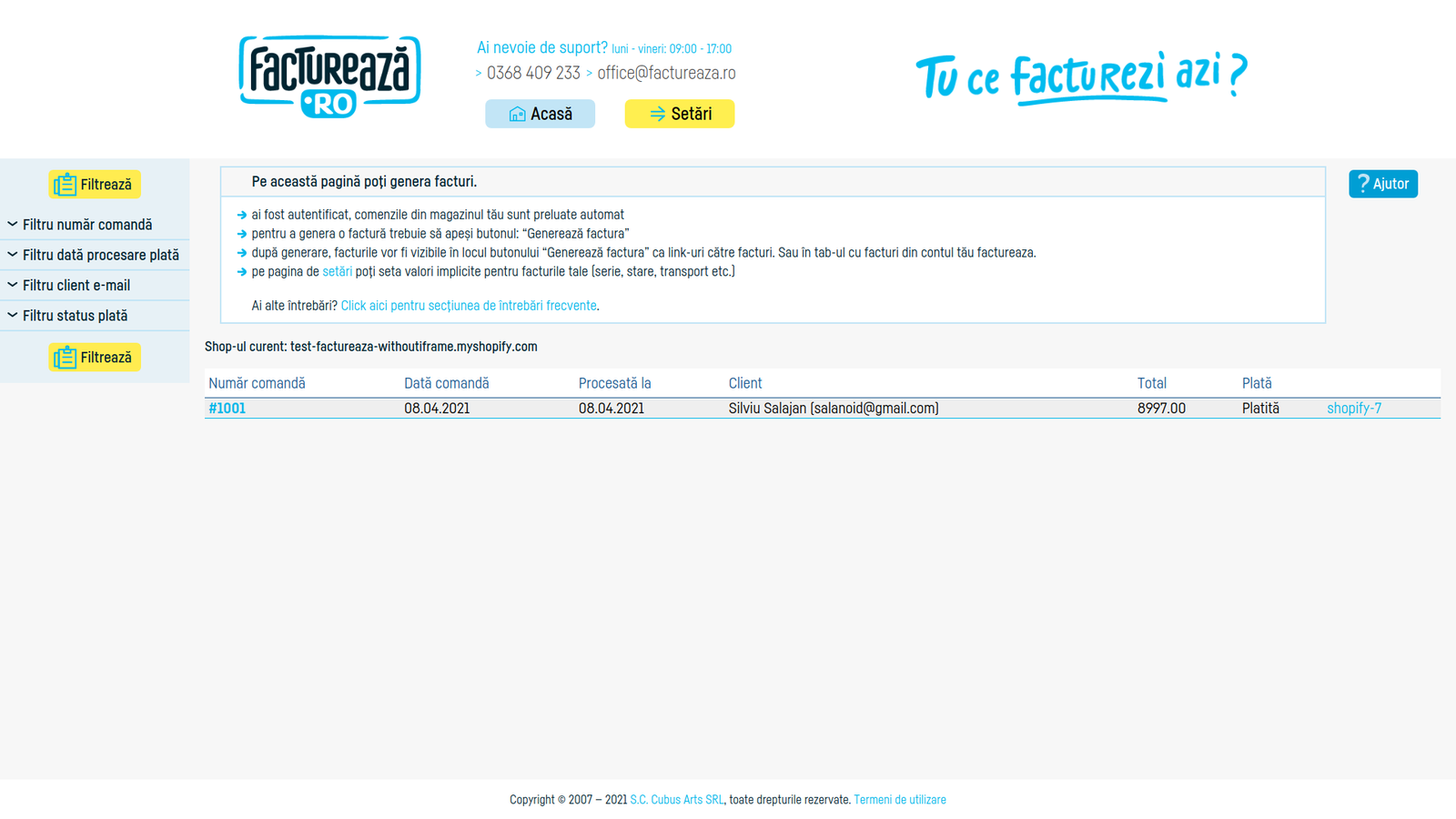 Generated invoice link