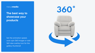 Set the animation speed, auto-spin 360 images or add 360 view
