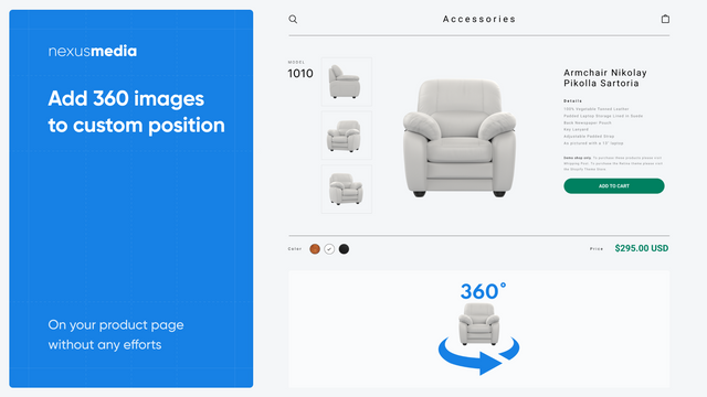 Add 360 images to custom position on your product page