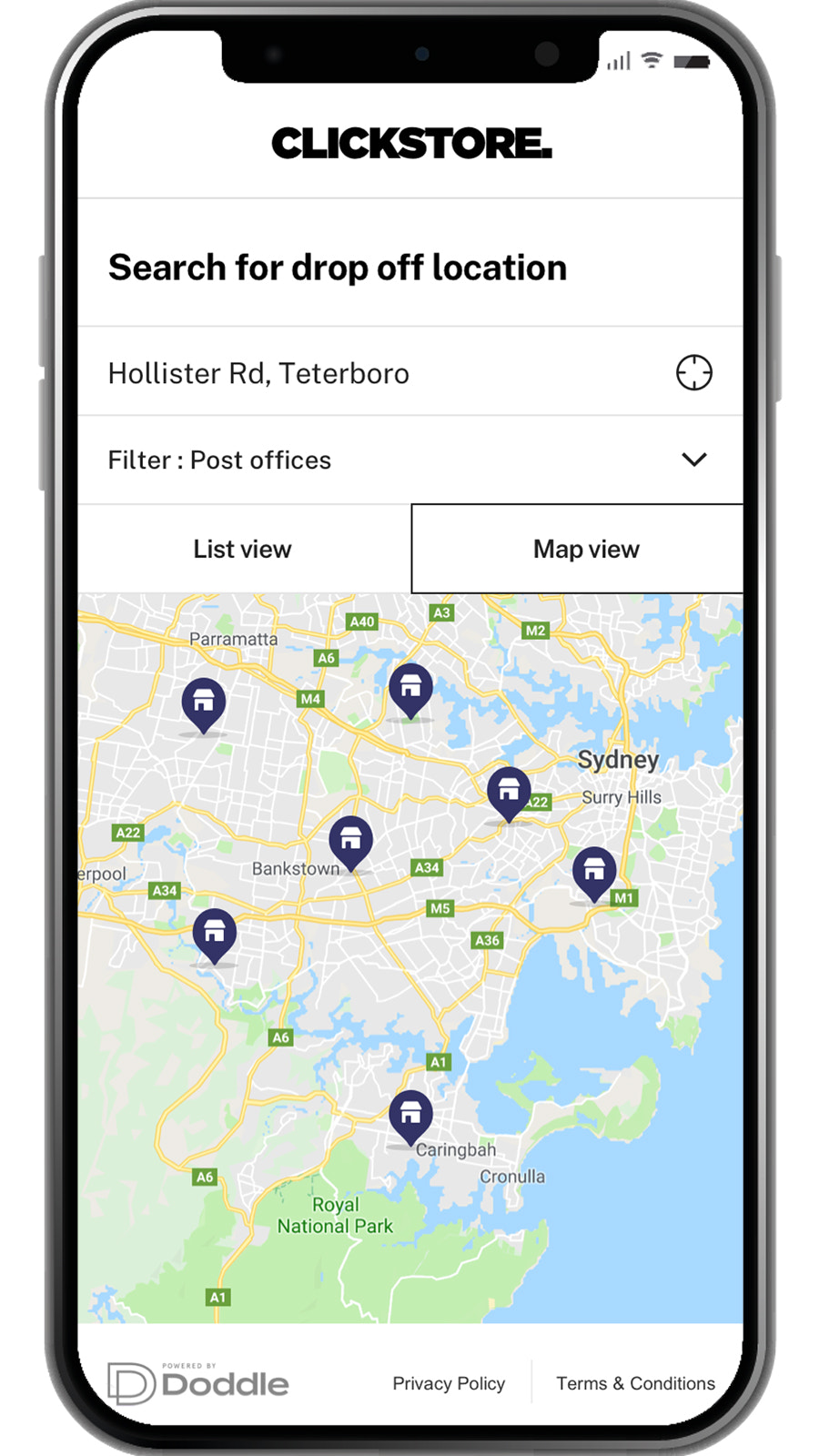 Customer Can Select Drop Off Location