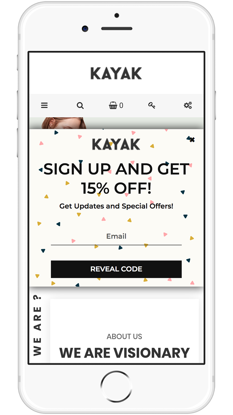 How your Email Collection Displays appear on mobile