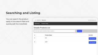 searching and listing metafields