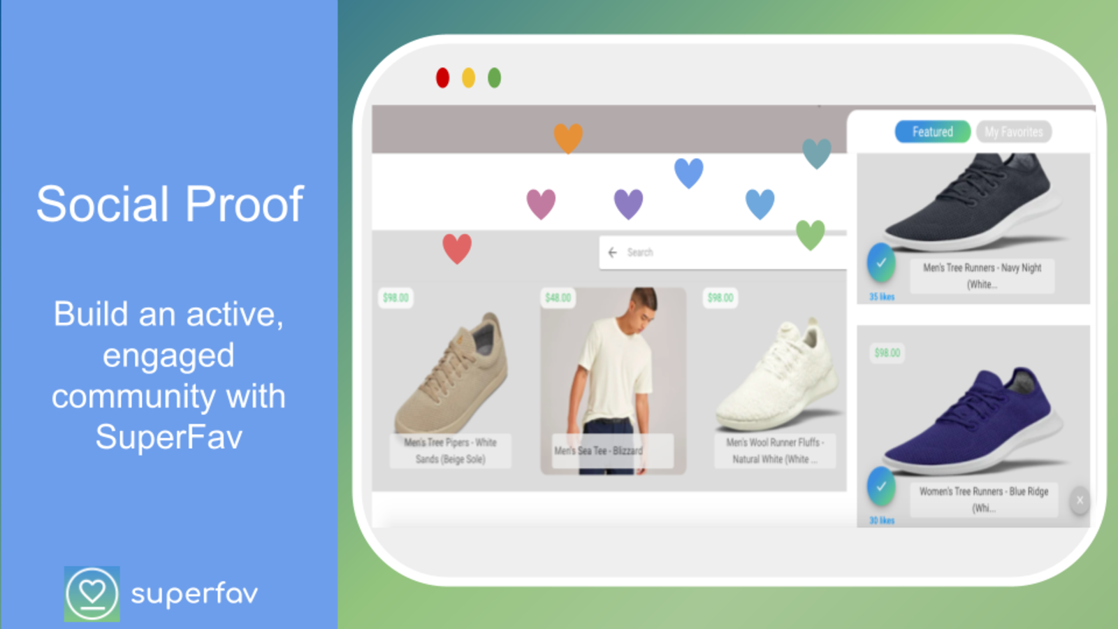 social proof, like button, favorites products list, wishlist