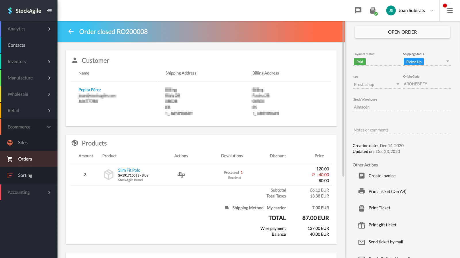 Manage your order details from StockAgile