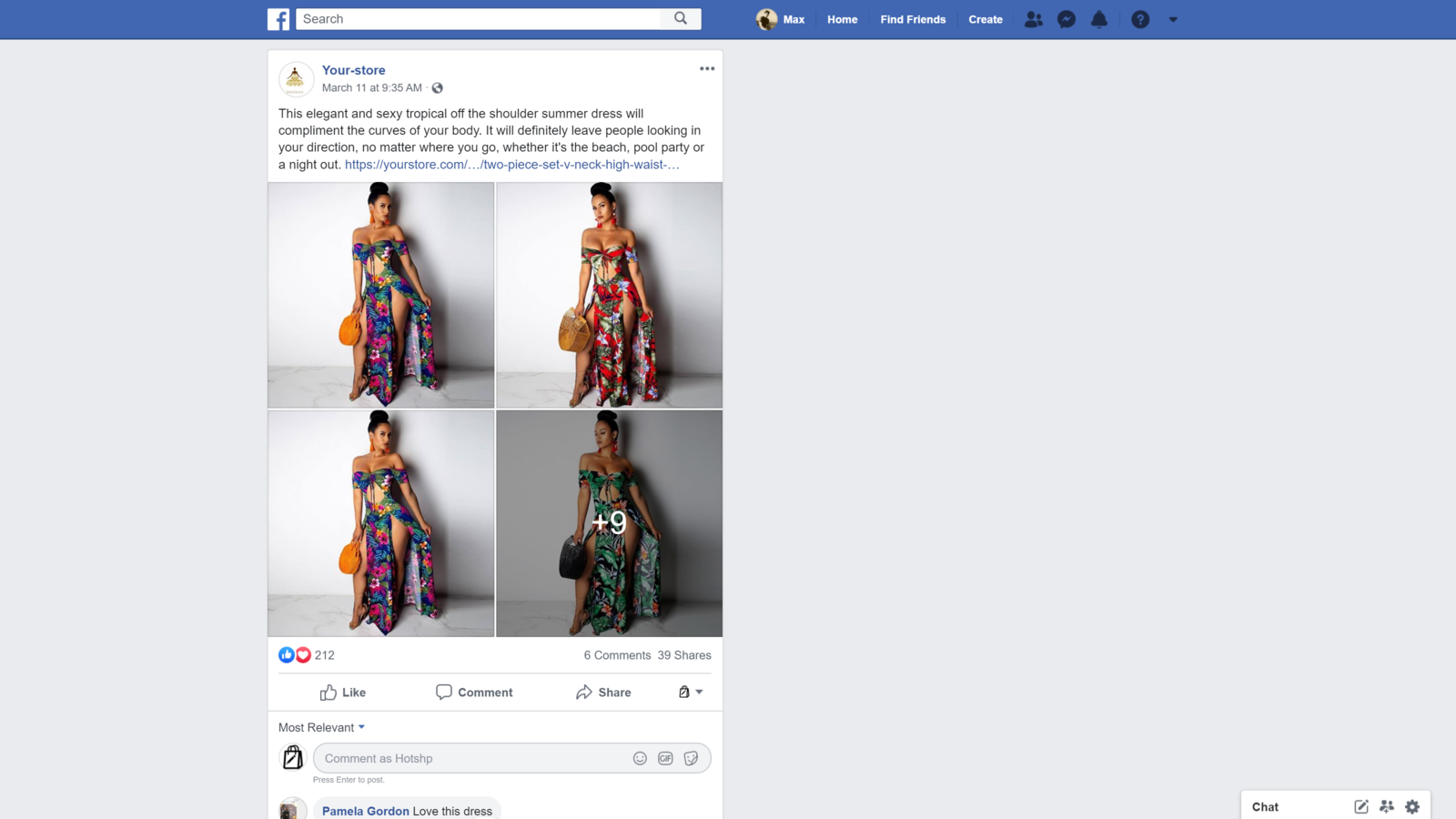 Published FB post example