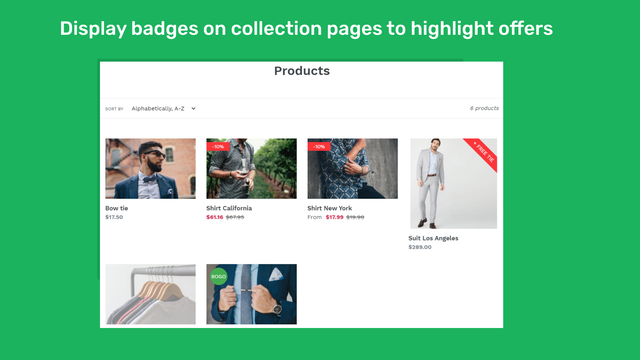 Advertise sales with collection badges