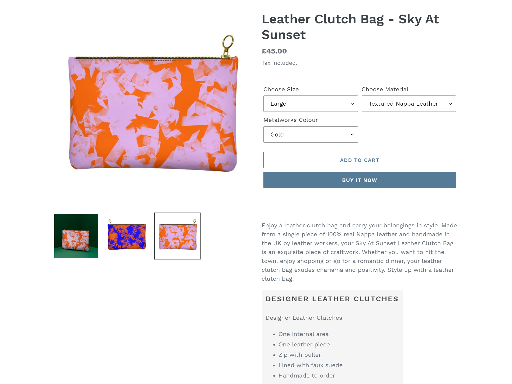 Dropshipping listing page Clutch Bag