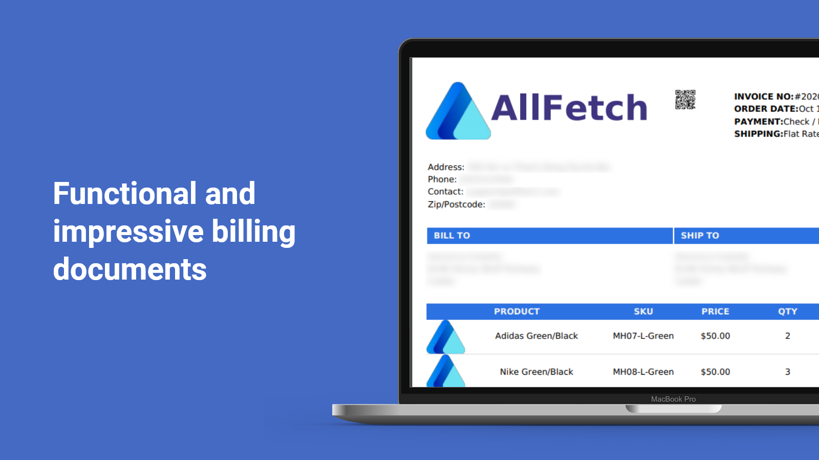 Functional billing documents and PDF invoice