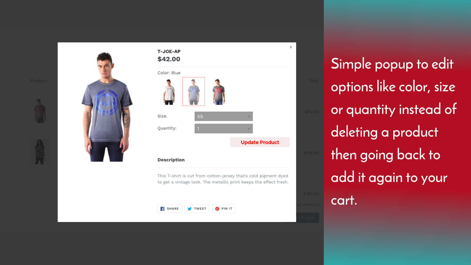 Simple popup to edit your product options when you click on the