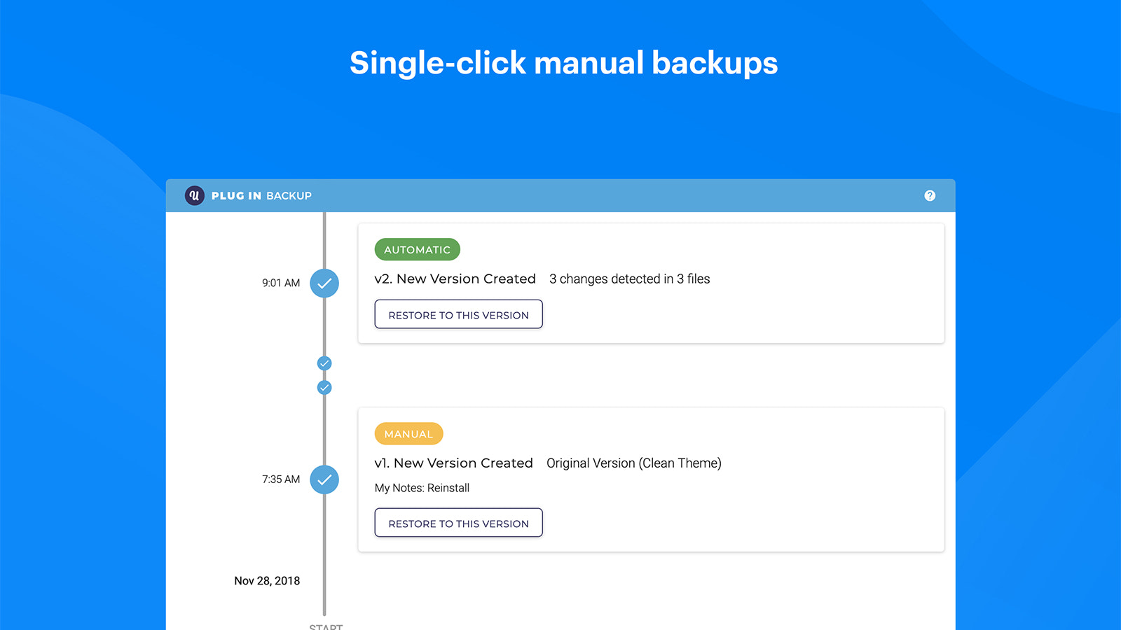 Theme timeline with manually created versions