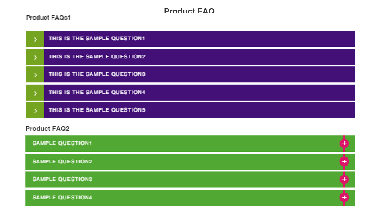 Multiple FAQ Templates at Front