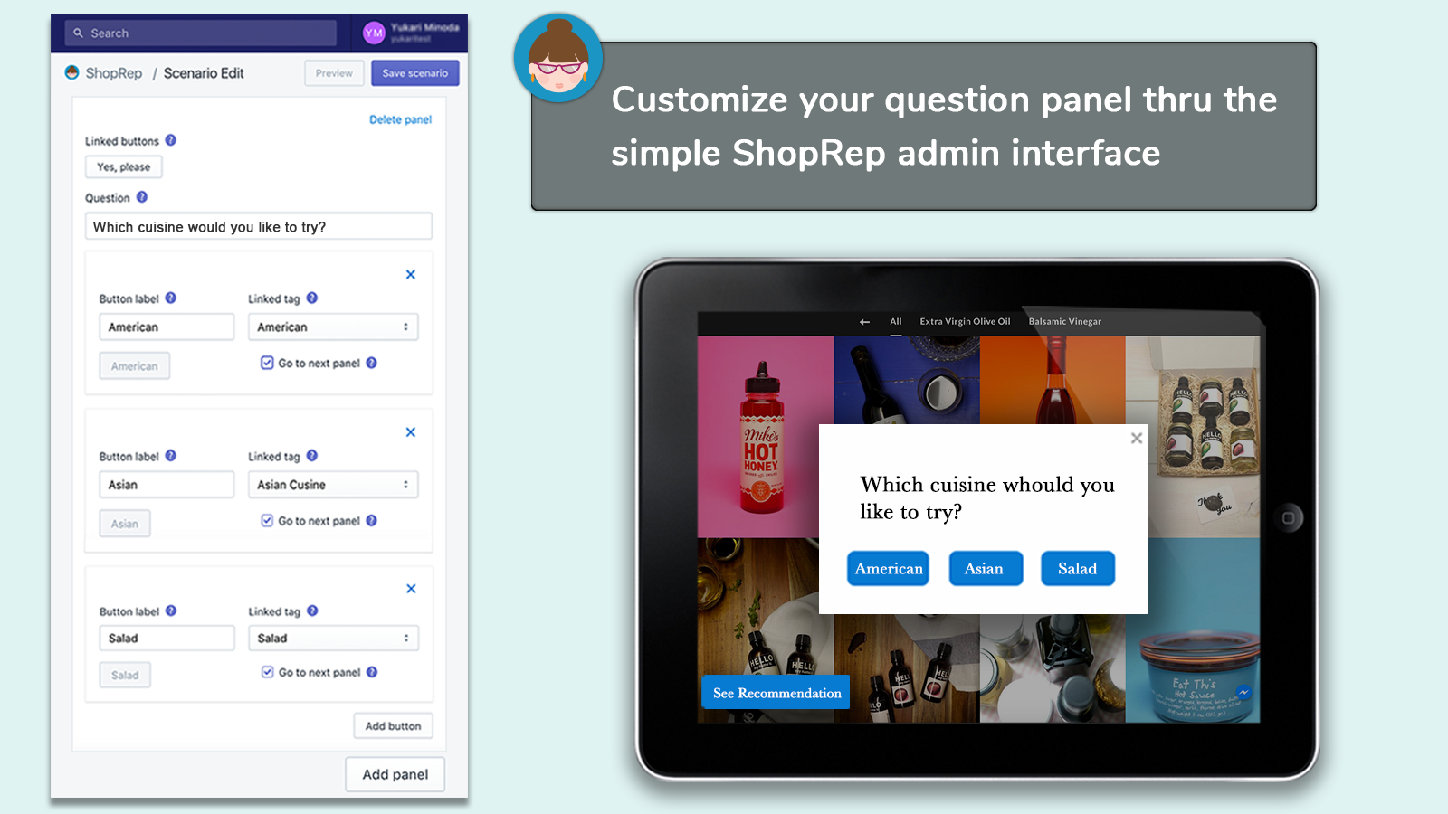ShopRep recommendation and Admin on Desktop screens