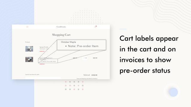 Pre-order cart labels appear in the cart and on invoices