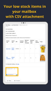 Shopify low inventory alert email view with CSV