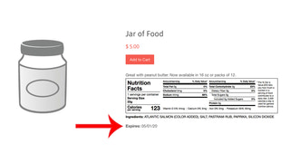 Product page with an expiration date displayed (or batch number)