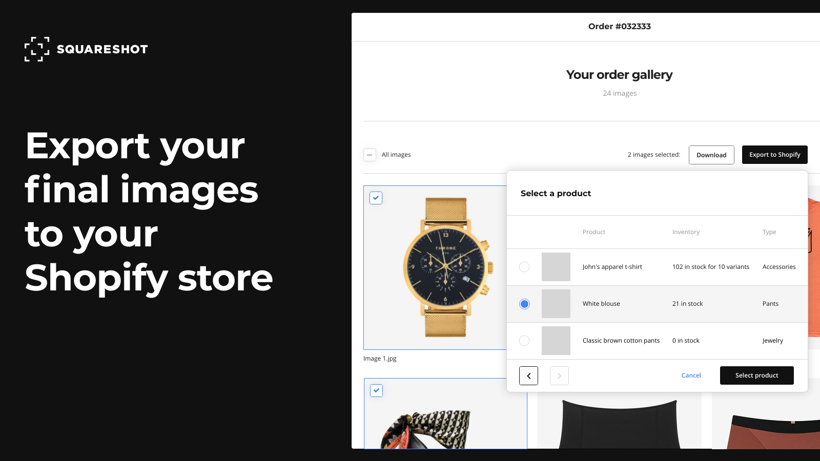 Export product images to your Shopify store