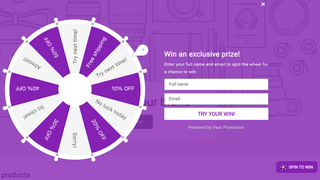 Spin wheel form in storefront