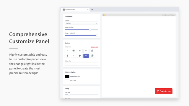 Simple Scroll To Top Shopify App Screenshot By CodeWord