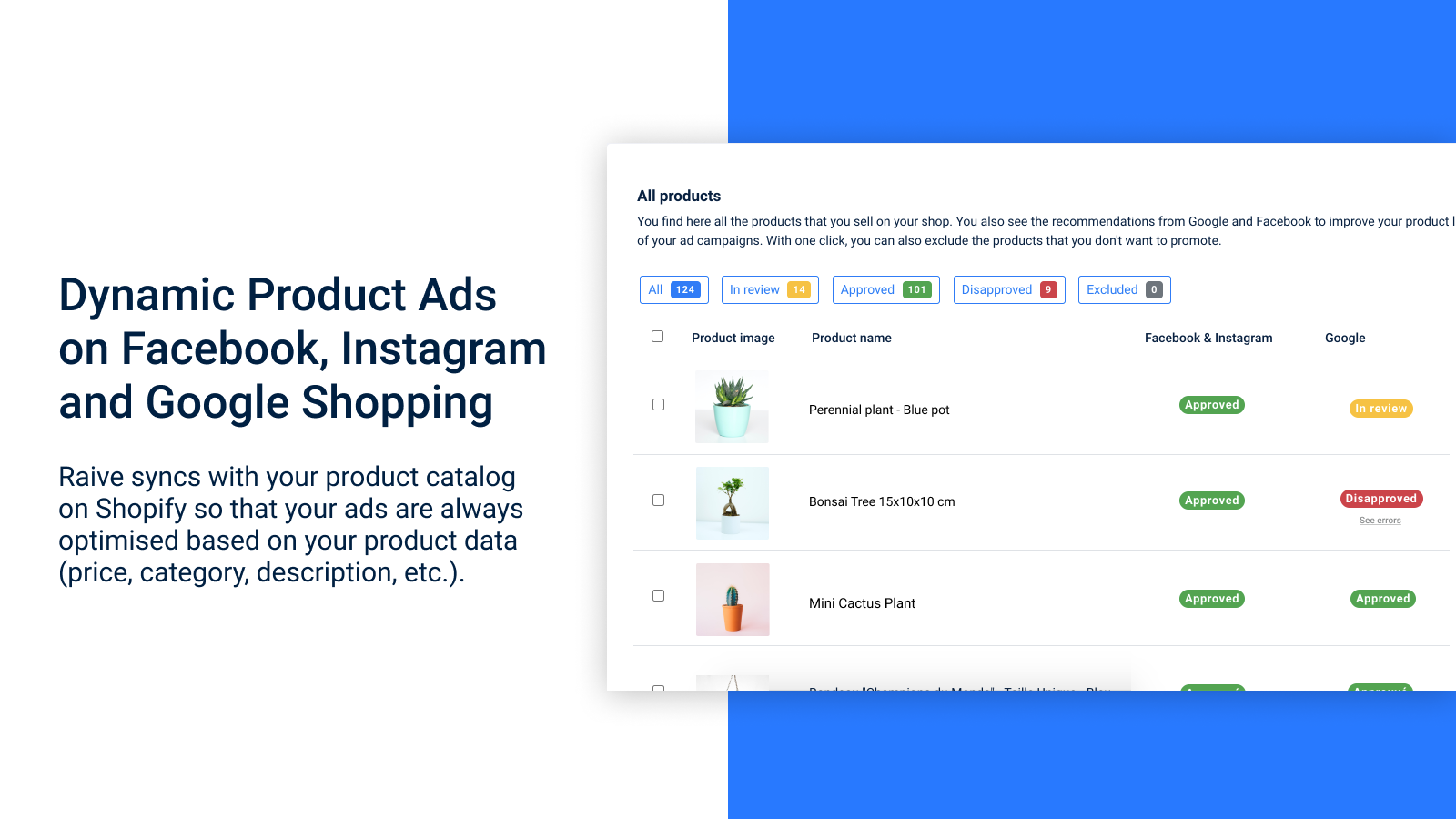 Dynamic Product Ads on Facebook, Instagram and Google Shopping