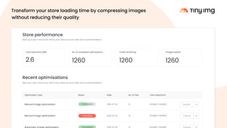 Easy to use dashboard for image optimisation and SEO