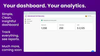 your dashboard your sales veonr abandoned cart recovery