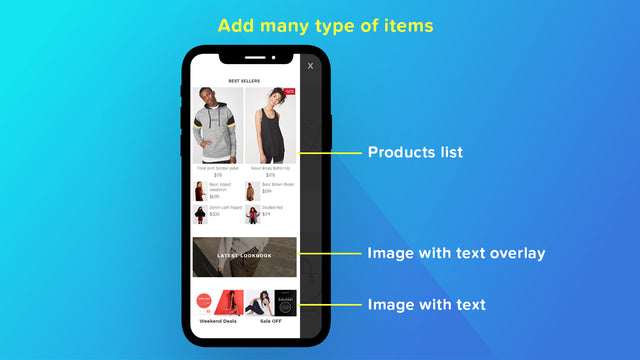 add products and images to mobile menu