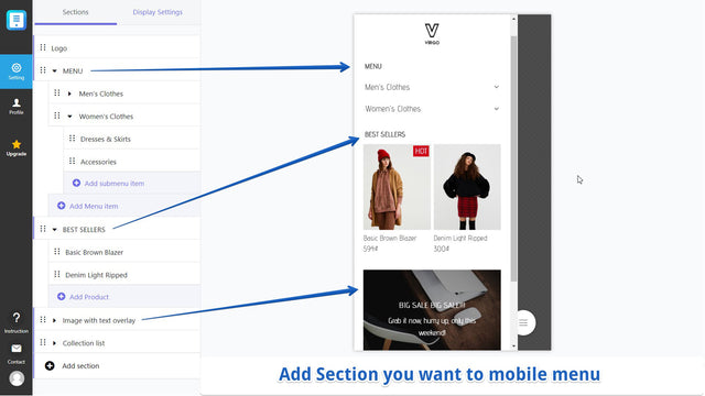 Easily add menu sections, products, images for mobile menu