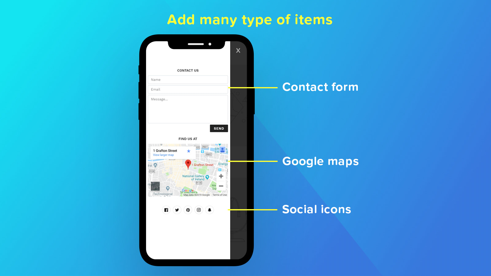 add contact form and google maps to mobile menu