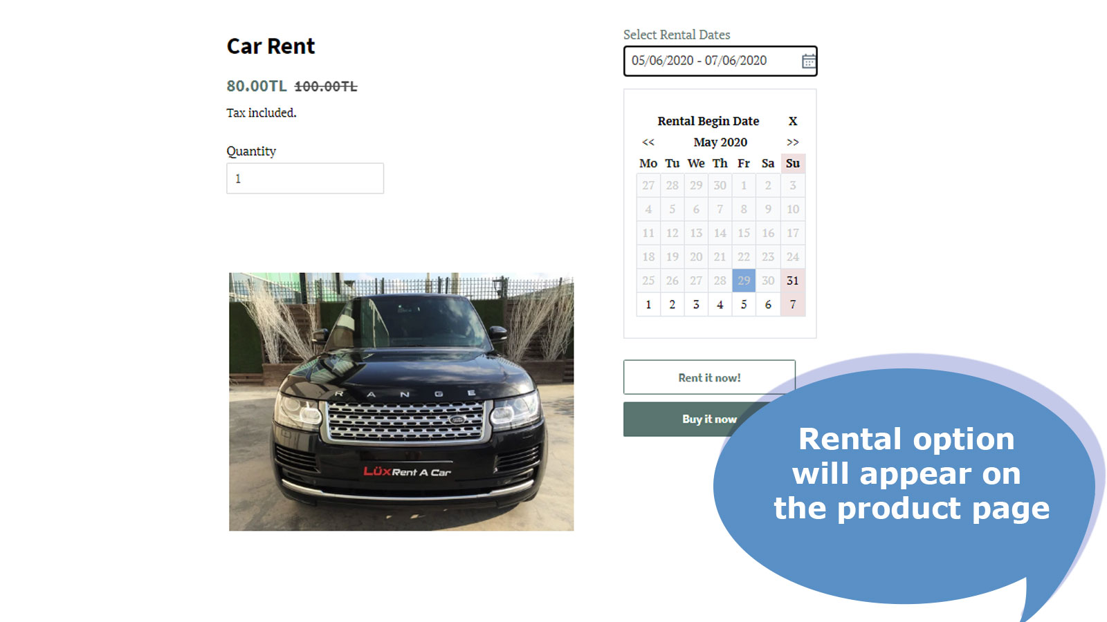 Rental dates option will appear on the product page