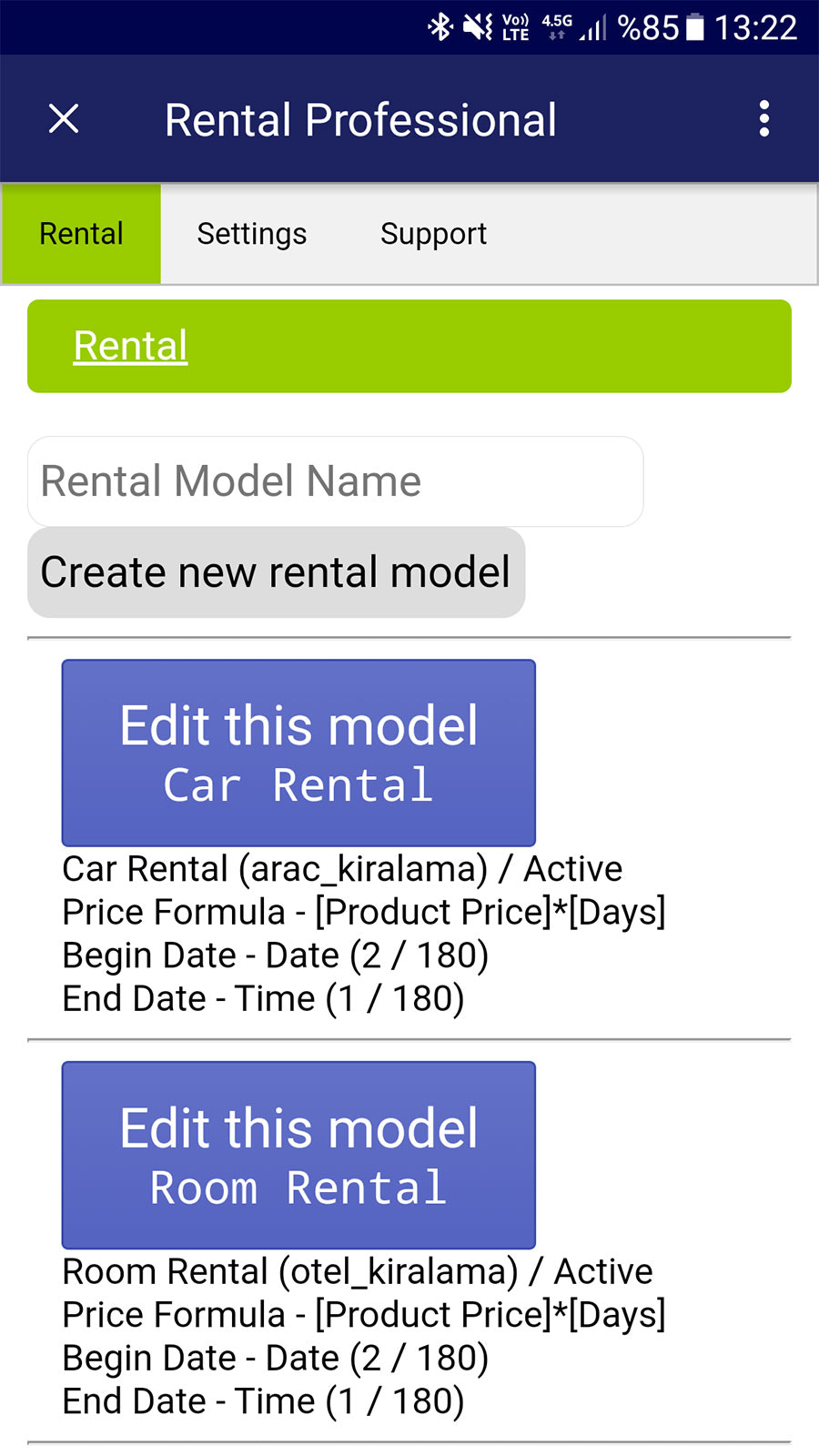 You can define many rental methods with many different rules