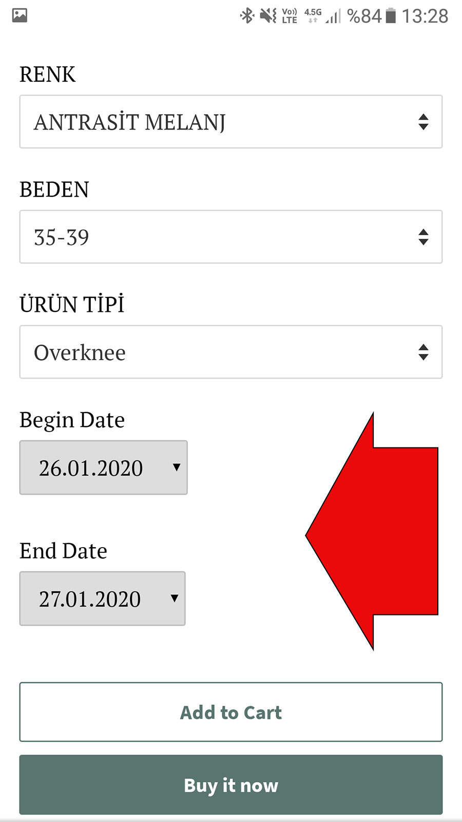 Date option will appear on your product page