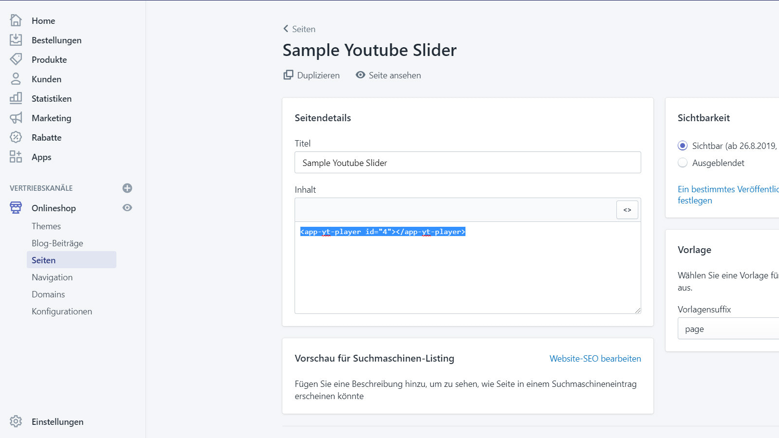 Place the slider on a page as a custom html tag