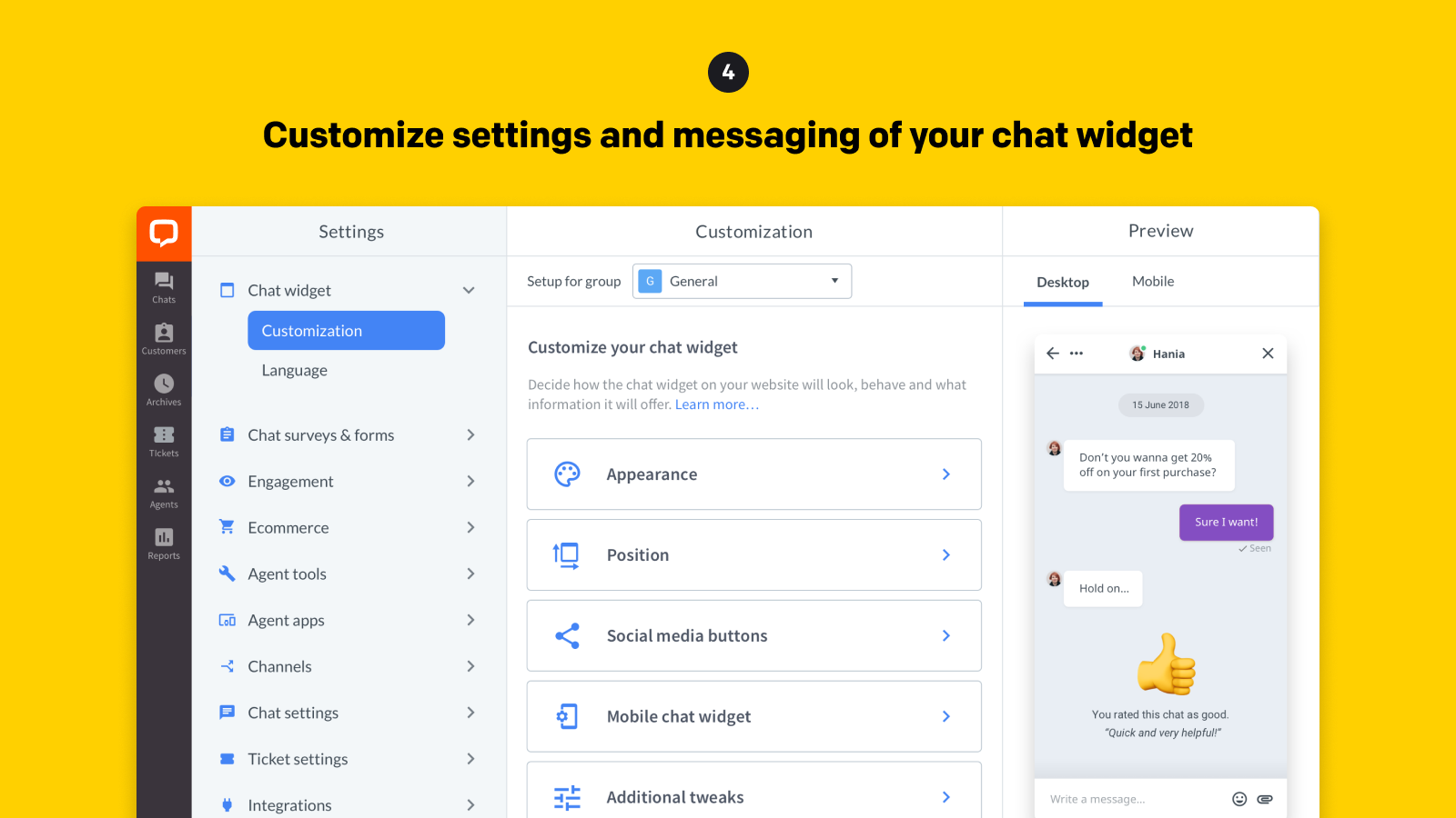 Customize settings and messaging of your chat widget