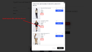 upsell popup offer with discount