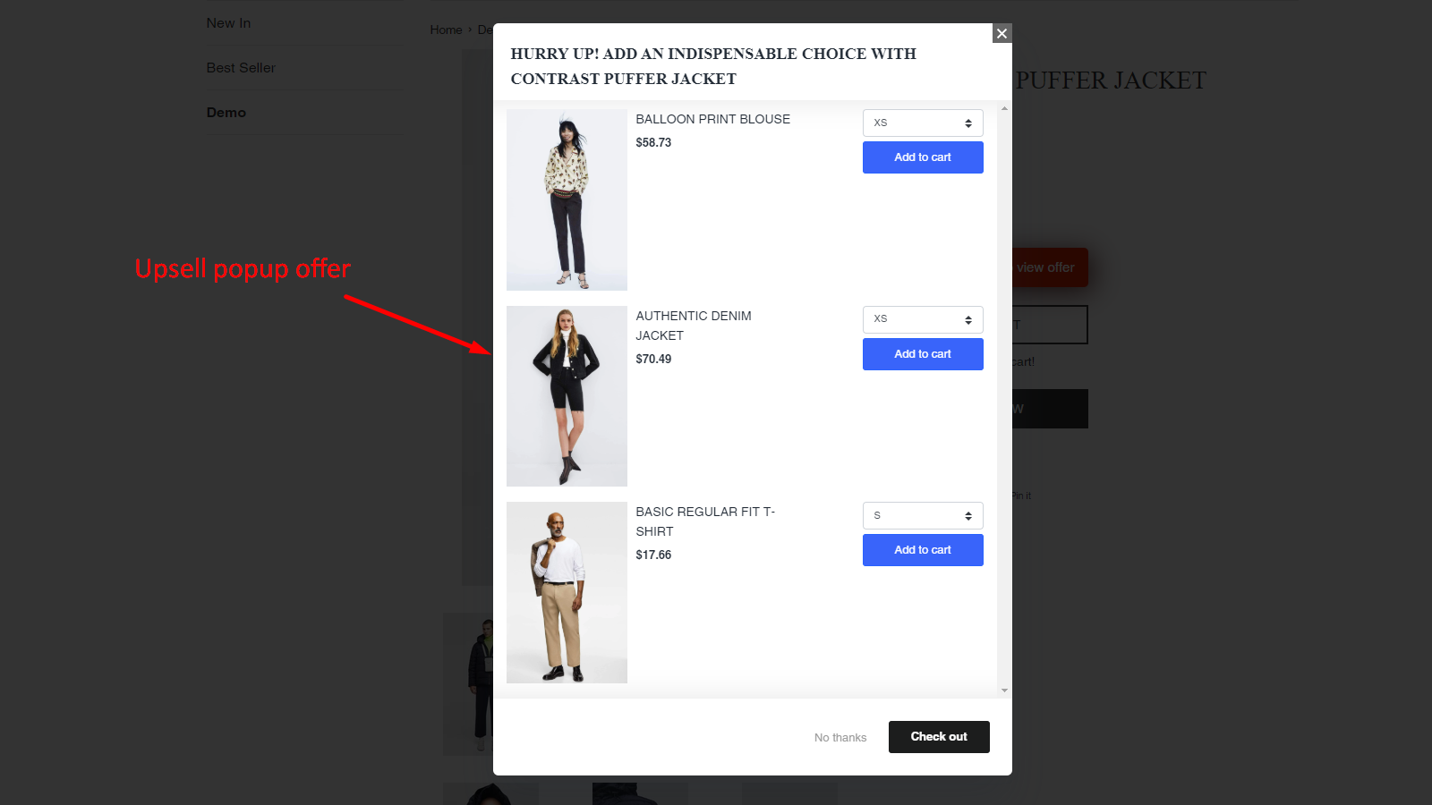 upsell popup offer
