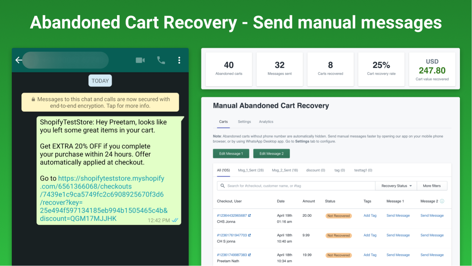 whatsapp abandoned cart recovery messages for shopify stores