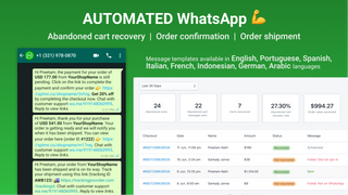 automated whatsapp abandoned cart, order confirmation, tracking