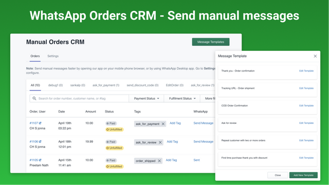 whatsapp marketing orders crm manage customer relationships
