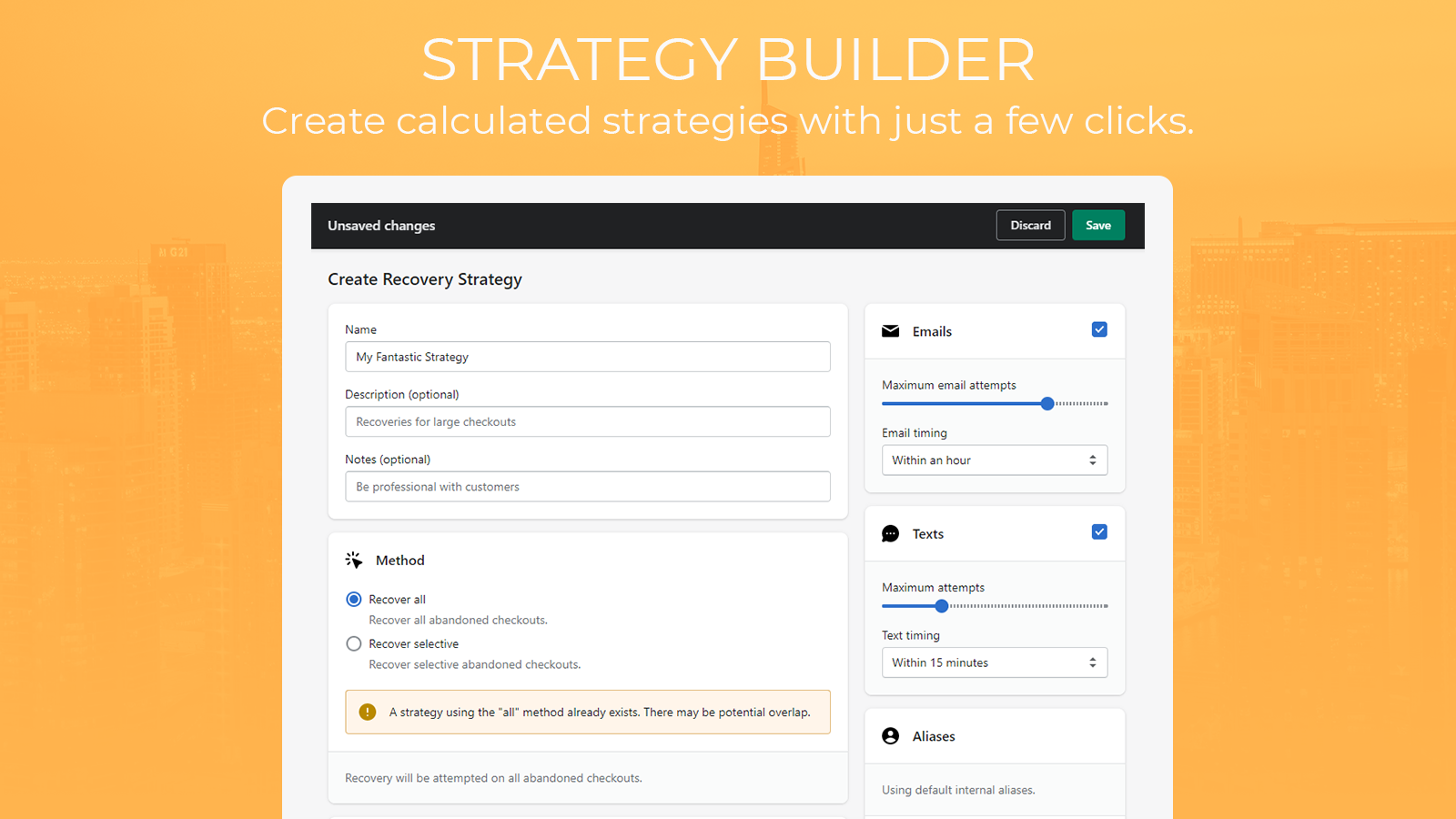 The create strategy page.