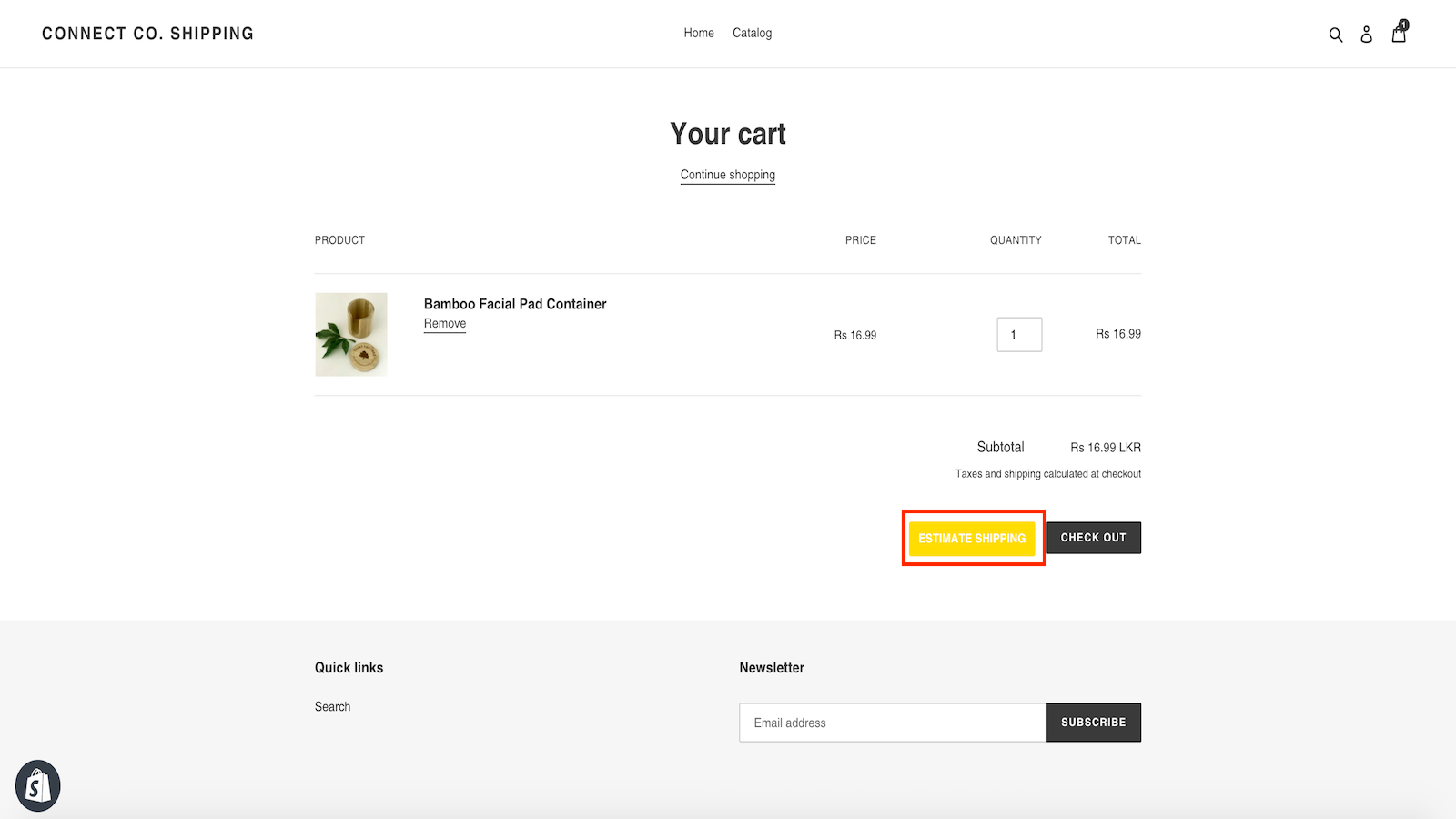 Estimate Shipping button will appear in cart page when activate