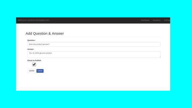 Provide customer query answer page